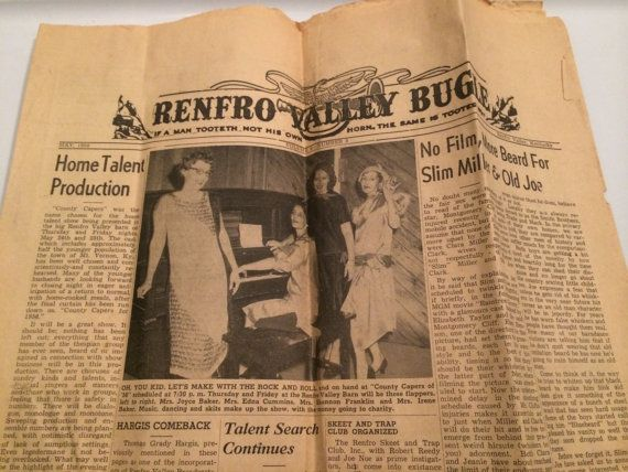 Vintage Renfro Valley Bugle Newspaper May 1956 Etsy Valley Vintage Music City