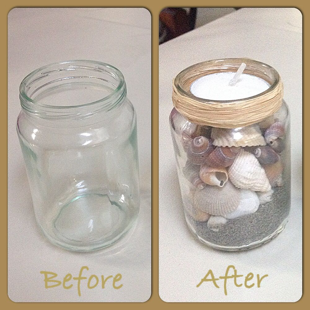 All you need is a used empty baby food gerber jar. Sea shells of your  choice but make sure they fit in the jar. A candle and your choice of creative  idea ...