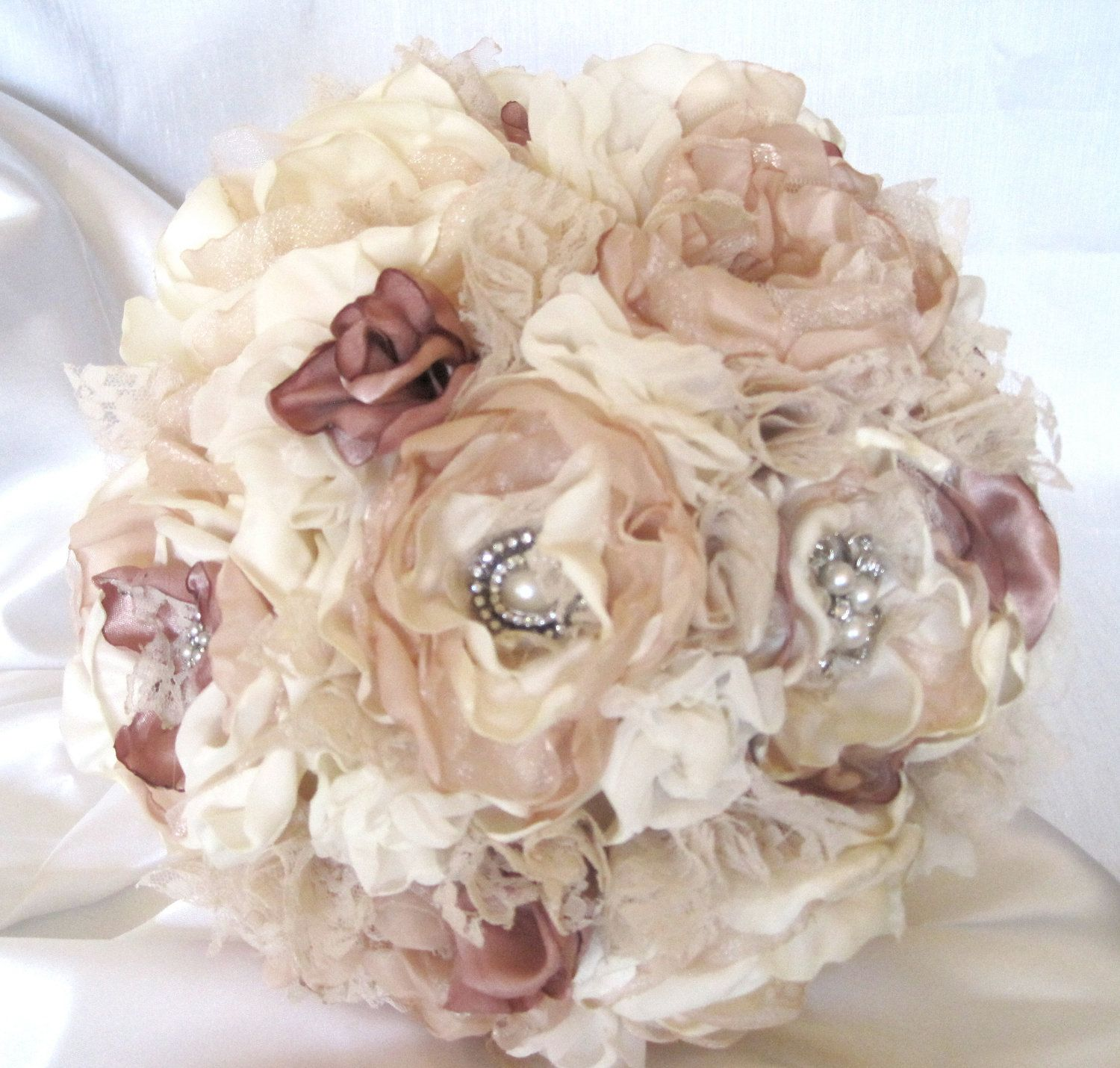 Wedding bouquet vintage inspired fabric brooch bouquet in ivory wedding bouquet fabric flower vintage inspired brooch bouquet in ivory champagne and dusty rose with pearls rhinestones and lace custom made izmirmasajfo