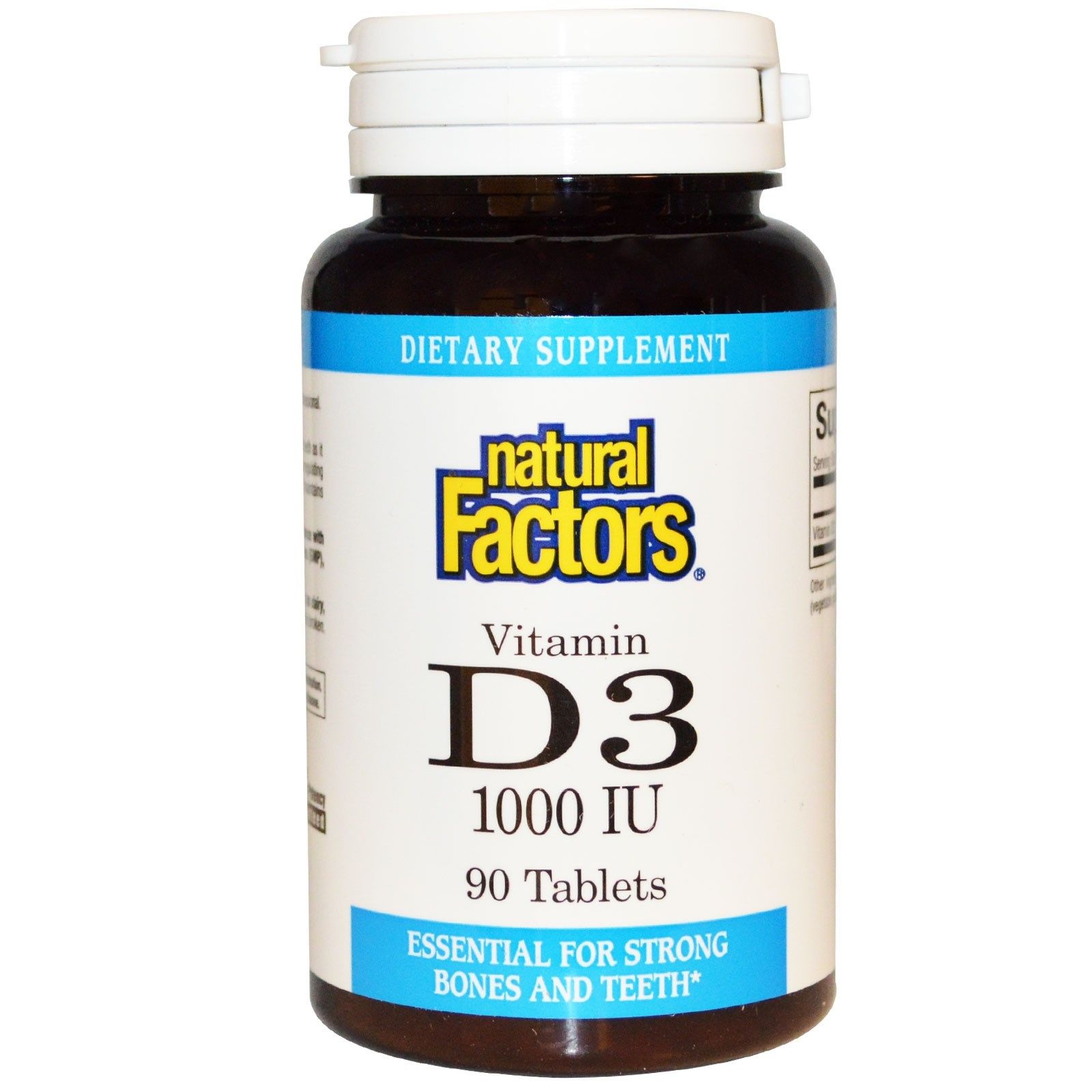 Natural Factors, Vitamin D3, 1000 IU, 90 Tablets Витамины