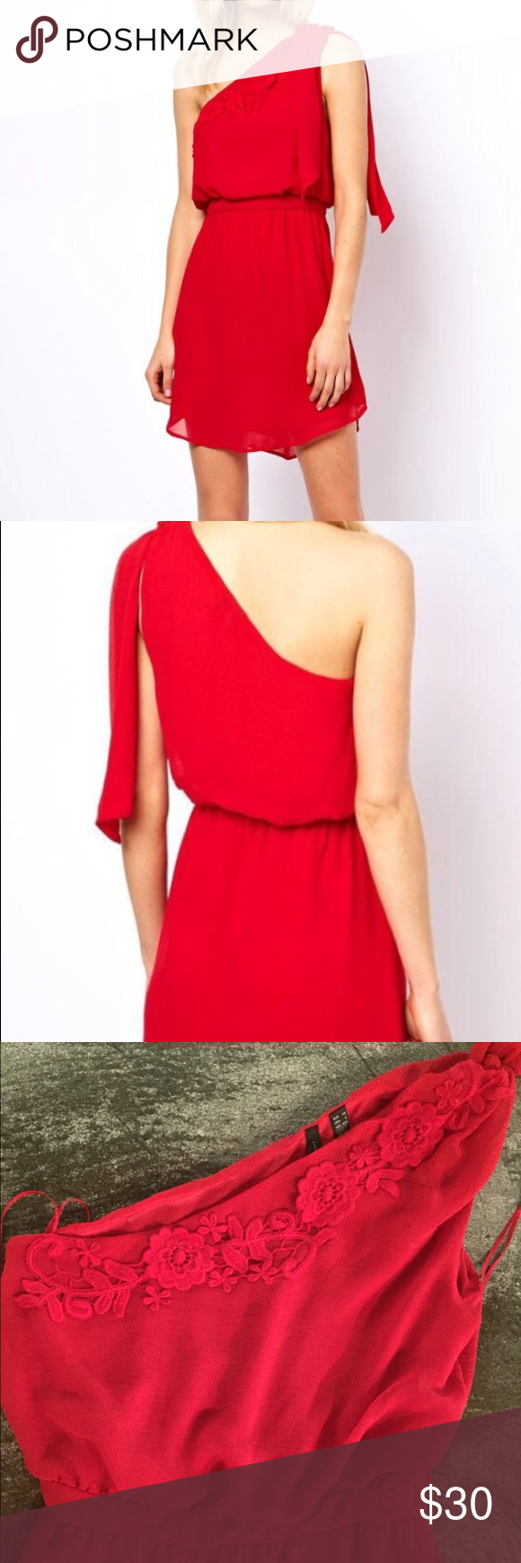 Mango red dress with details in crochet Really nice for the summer wore it once, has a little imperfection under the right arm as is shown in the pics. Good condition. Mango Dresses