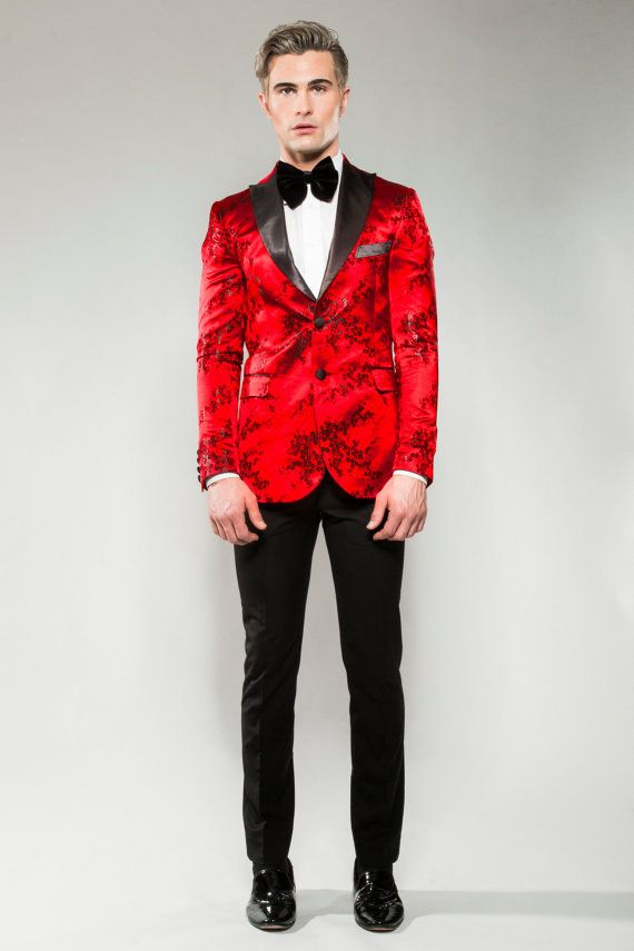 icon red amp black floral print tuxedo blazer wedding by