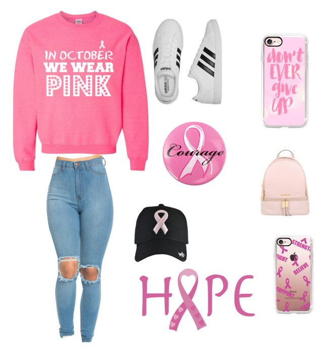 """""""Breast Cancer Awareness🎀💗"""" by athlete34 ❤ liked on Polyvore featuring Ashley Stewart, Casetify, adidas and MICHAEL Michael Kors"""