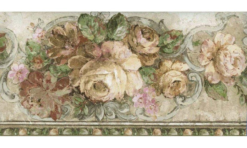 Bloomed White Roses Wallpaper Border Floral Wallpaper Border White Roses Wallpaper Rose Wallpaper
