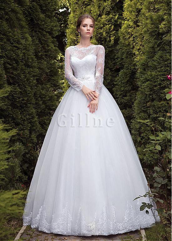 Robe de mariée elégant cou col ras du cou avec décoration dentelle de mode  de bal db486467d2c4