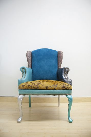 """Bluesy Chictorian"": Recycled Chair w/ Repurposed Leather ..."