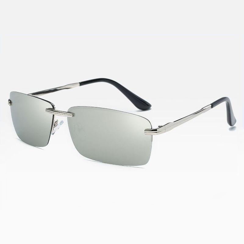 9086a7ff47 Rimless Polarised Rectangle Sport Sunglasses Silver Mirror White ...