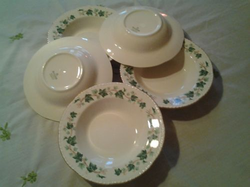 Liberty Ivy by Homer Laughlin. c 1942-1950. No dimensions given. Rim Soup, set of 5 for $22.00 at elvisloveslucy on ebay