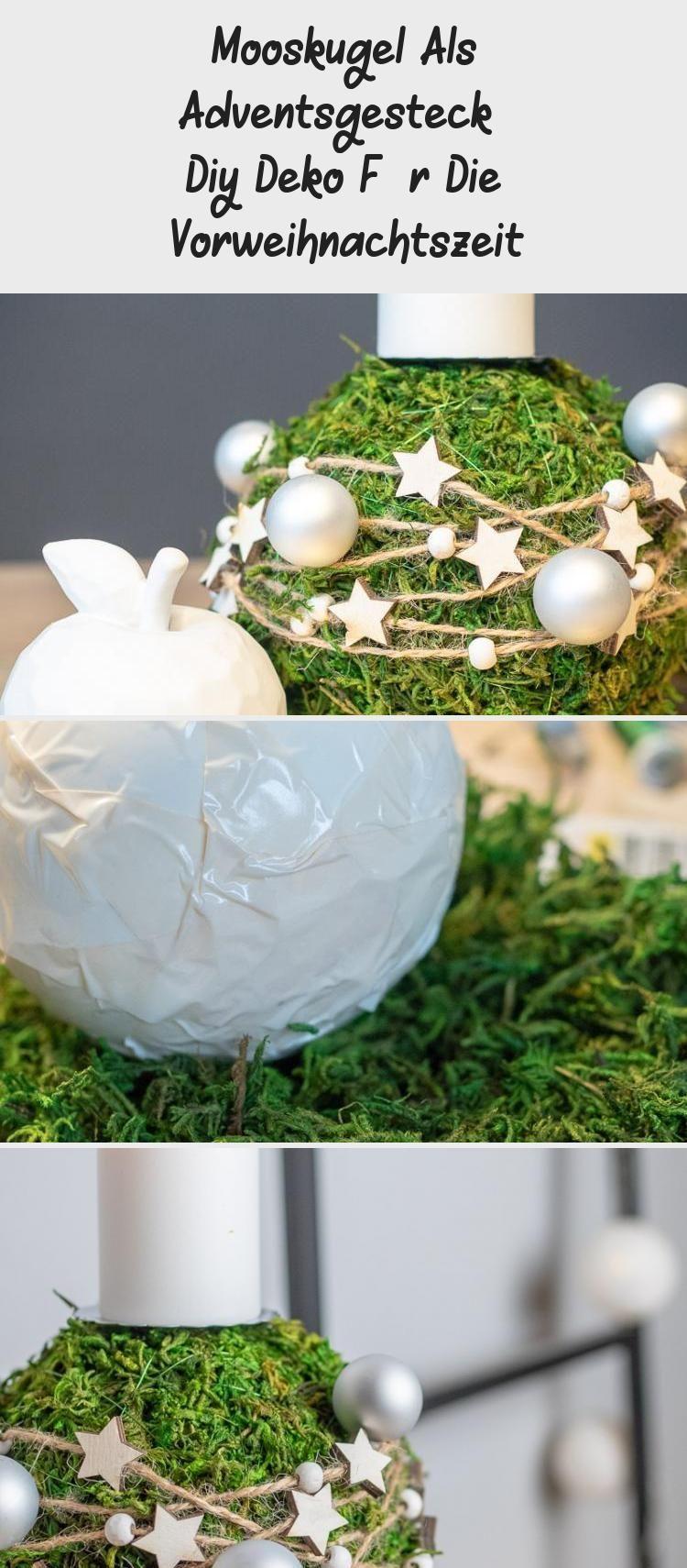 Mooskugel Als Adventsgesteck – Diy Deko Für Die Vorweihnachtszeit  mooskugel …,  #Adventsge…