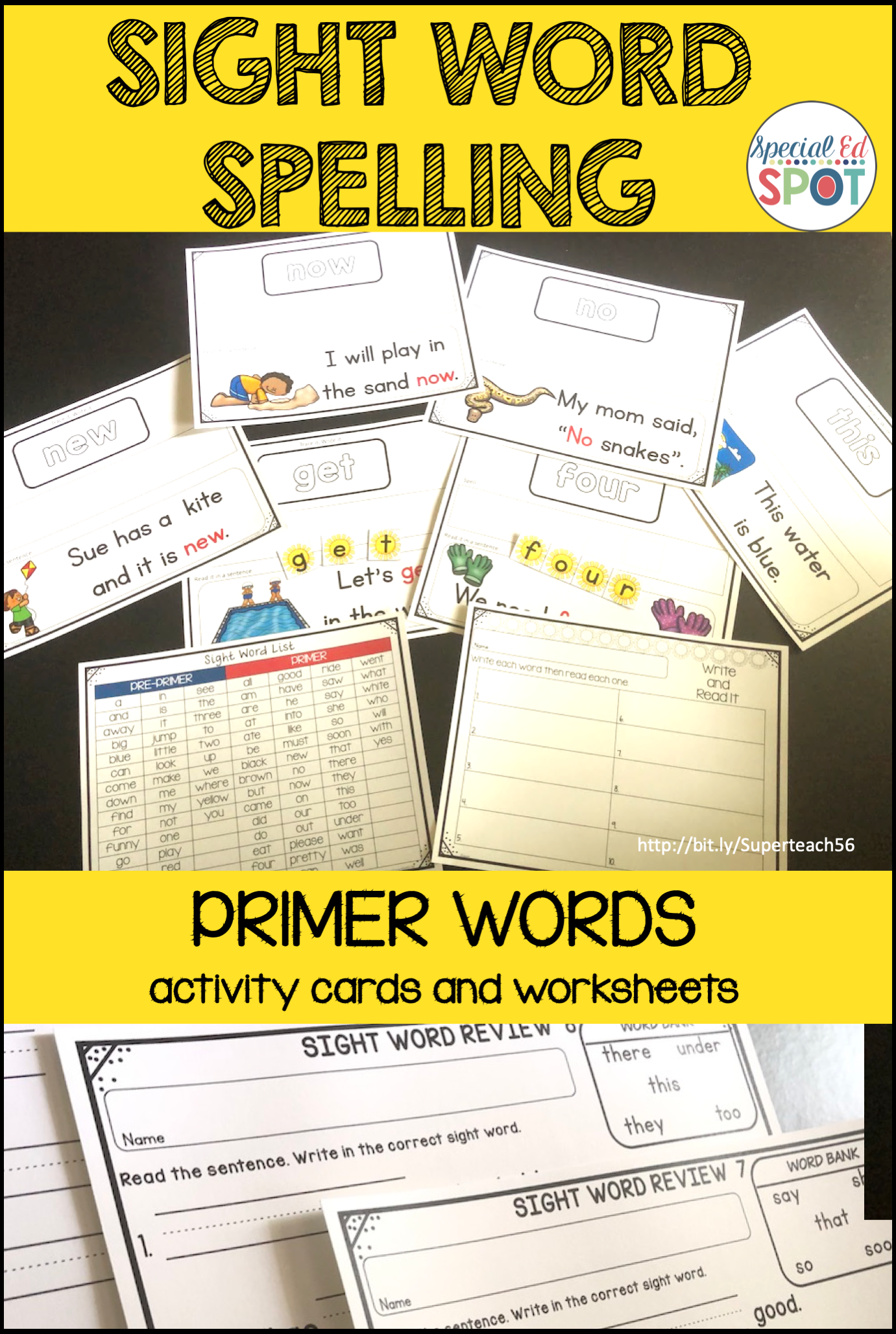 Sight Word Spelling Cards And Worksheets