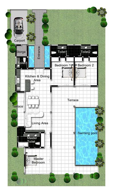 Floor Plan Of Villas Lotus 3 For Sale In Hua Hin Thailand Luxury With Swiming Pool Pool House Plans Dream House Plans Best House Plans