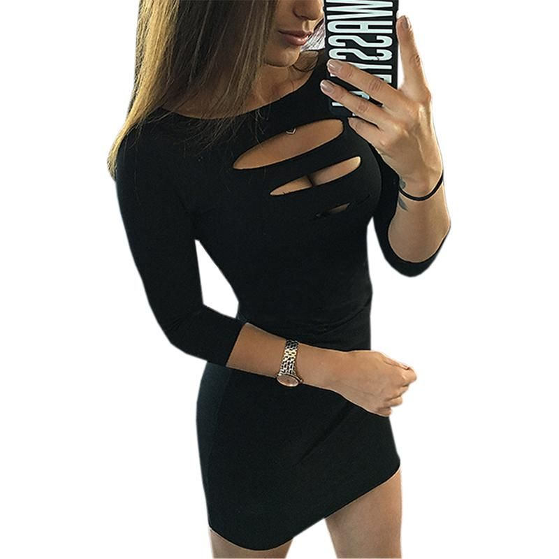 3b11ccabee183 Summer Women Sexy Dress Sheath Package Hip Party Dress 2018 Three Quarter  Sleeve Hollow Out Bodycon