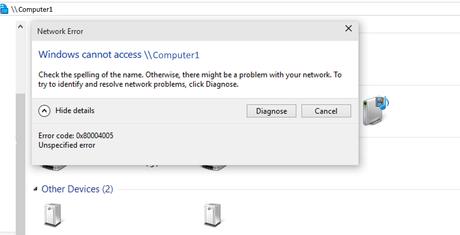 How to fix 'Windows cannot access computer' error code 0x80004005