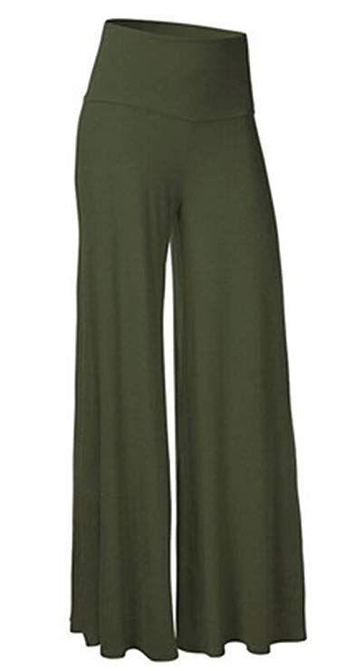 d6bea7adabc SL Women s Soft Wide Leg Palazzo Pants with High Fold Over Waist Band