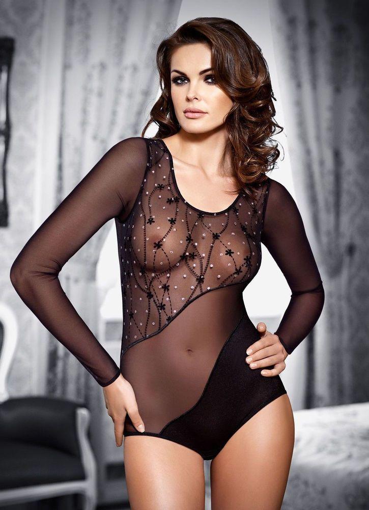 Body sexy noir strass transparent femme manches longues TESSORO emanuelle S  M L 5d7fdf630fc