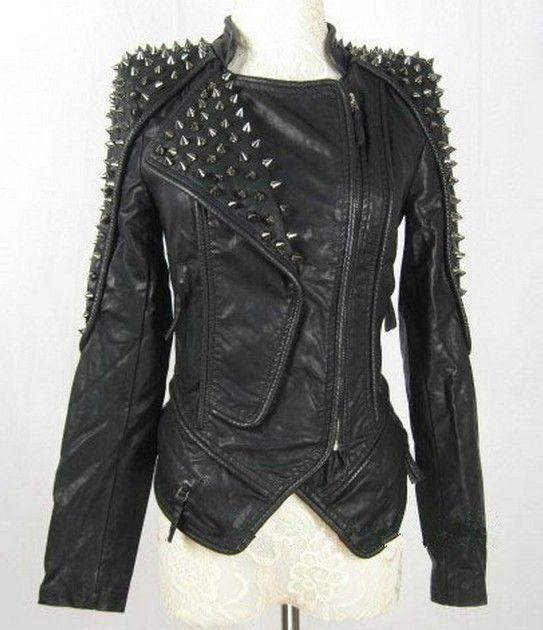 Womens Punk Spike Studded Shoulder Leather Jacket Coat Motorcycle Jacket