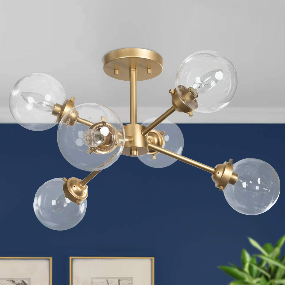 Ksana Gold Semi Flush Mount Ceiling Light Gold Chandeliers For Dining Rooms Kitchen L In 2020 Ceiling Lights Gold Chandeliers Dining Room Flush Mount Ceiling Lights