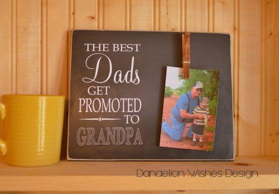 Grandparents Photo Frame; The Best Dads Get Promoted to Grandpa; Grandparent Promotion, Grandparent Gift, Pregnancy Reveal #grandparentphoto Grandparents Photo Frame The Best Dads by DandelionWishesDesig #grandparentphoto