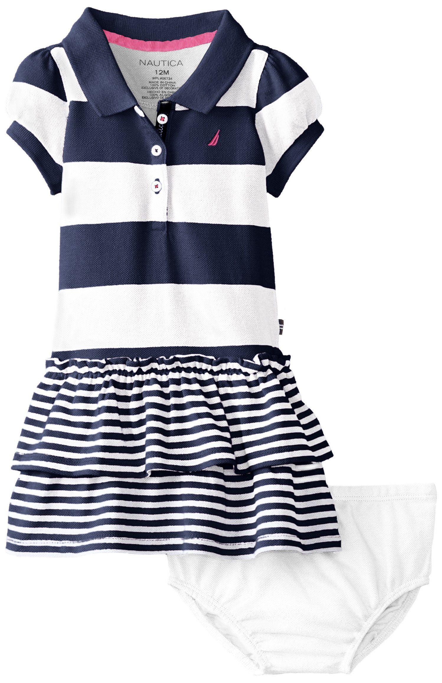 Nautica Baby Girls Infant Pique Stripe Polo Dress Natural 24