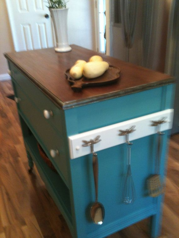 Repurposed Antique Dresser As A Kitchen Island With A: Repurposed Upcycled Dresser Made Into Charming Turquoise