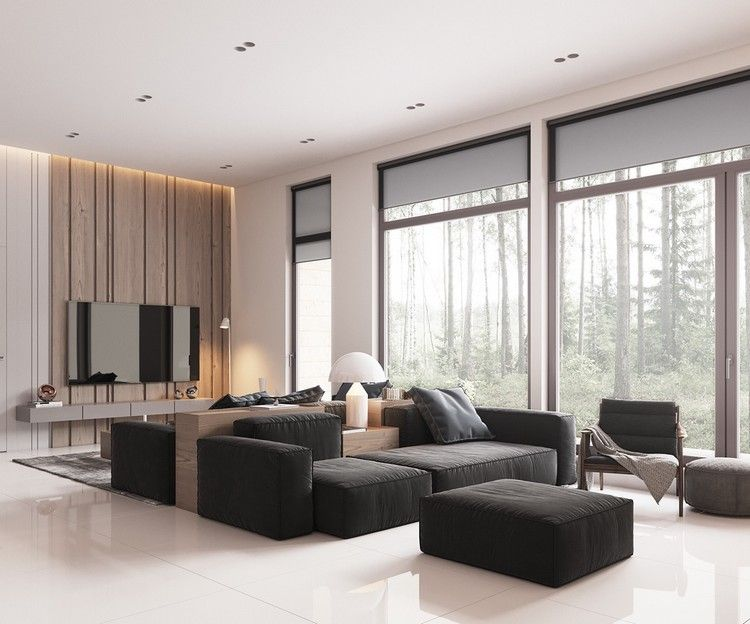 déco blanc et bois d\'un salon moderne avec canapés noirs et ...