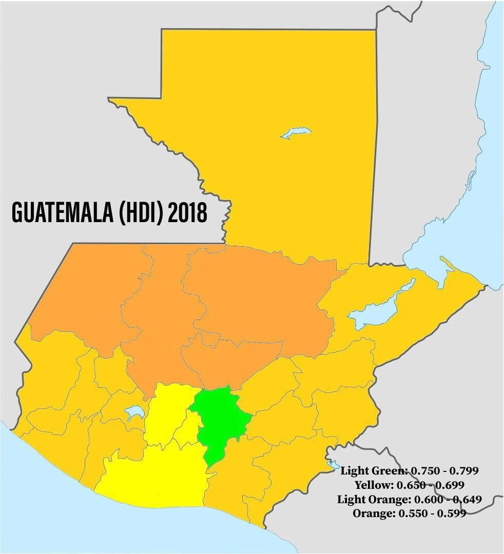 Guatemala (HDI) 2018 - By Departments   Guatemala, Light ... on map of france departments, guatemalan departments, map de guatemala, map of georgia departments, map of mexico and belize, map of colombia departments,