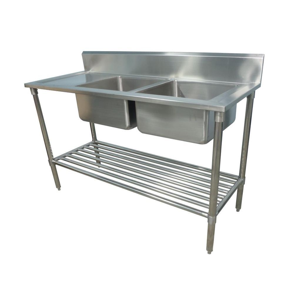 Details About 1300x600mm New Commercial Double Bowl Kitchen