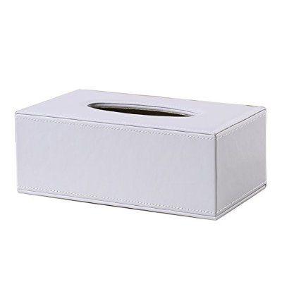 Home Decor Rectangle Leather Kitchen Car Tissue Box Napkin Holder Black