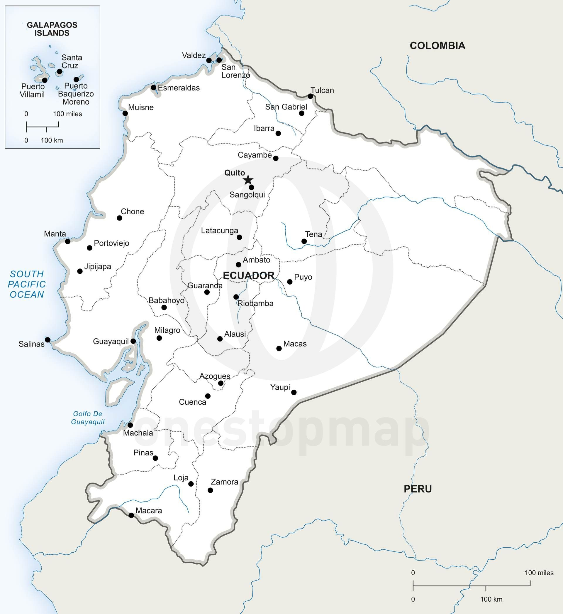 Map Of Ecuador Political Products Ecuador And Rivers - America map with rivers