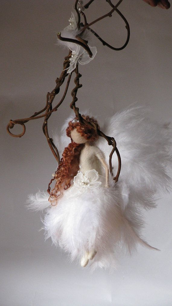Needle felted fairy Fairy doll Fiber art Waldorf inspired Magic fairy Mobile On a twig Art doll OOAK #twigart