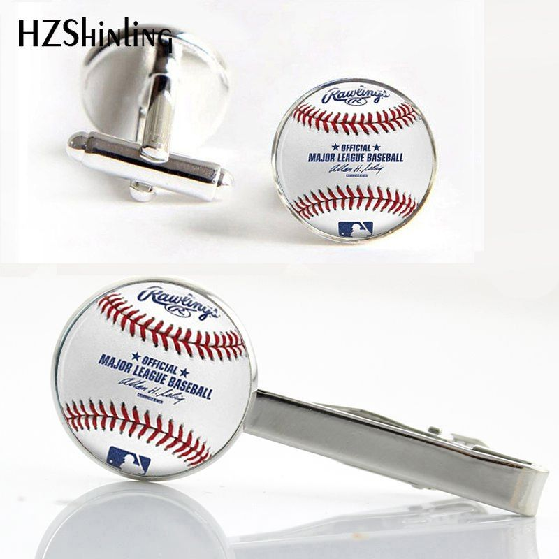 Ct 0018 Baseball Team Clips Cufflinks Set High Quality Baseball Cufflink Glass Silver Round Tie Clip Gifts For Fa Cufflink Set Engagement Jewelry Stuff To Buy