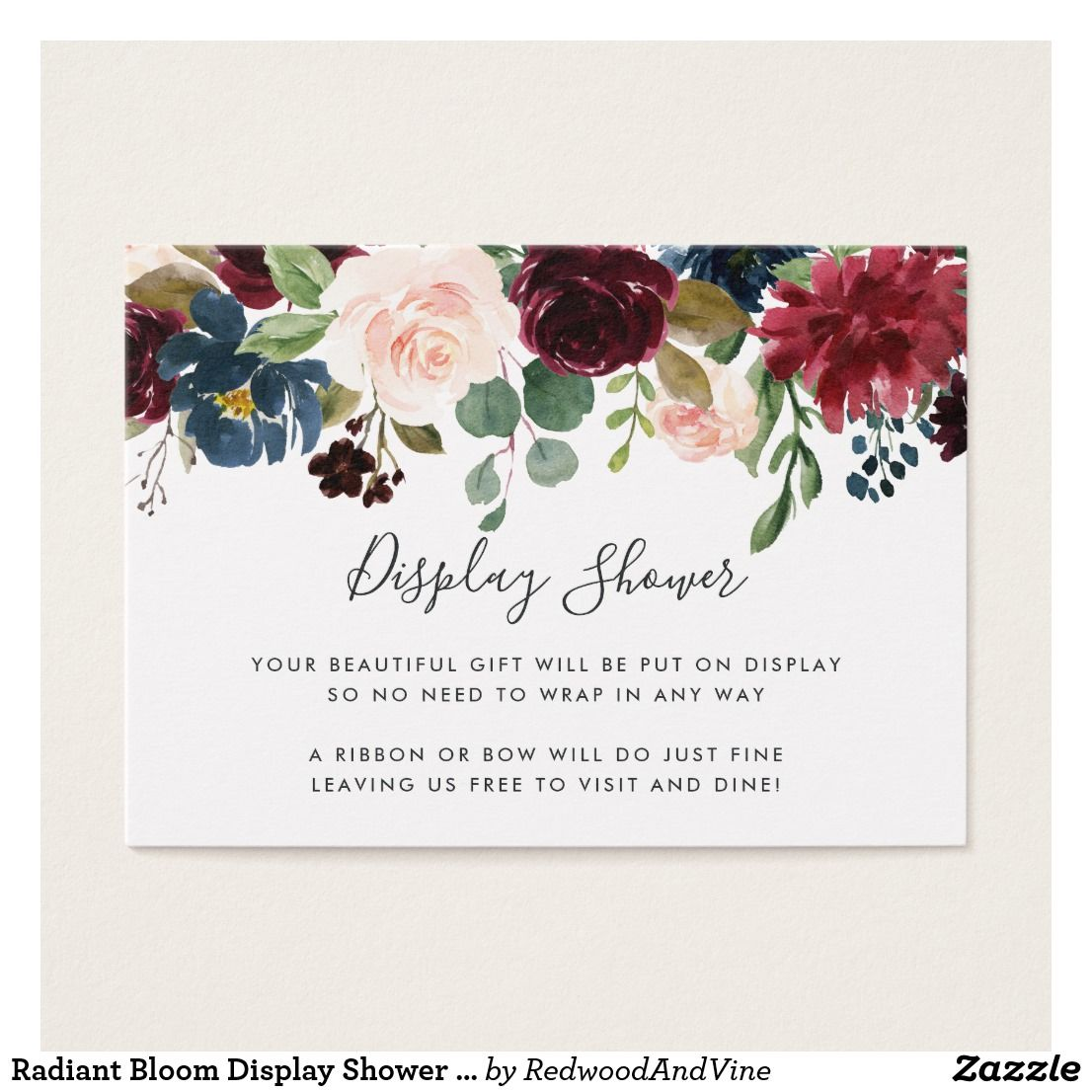 9076885f462f Radiant Bloom Display Shower Card Slip these petite cards into your baby  shower or bridal shower invitations when requesting that guests bring their  gifts ...