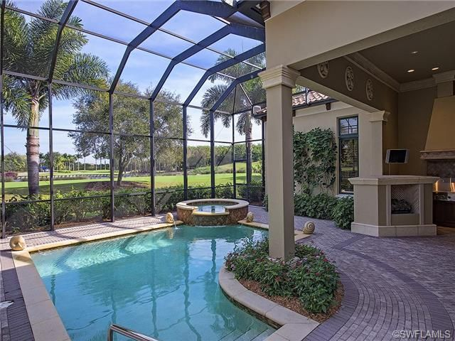 Pool And Outdoor Fireplace Grey Oaks In Naples Fl Pools For Small Yards Pool Landscaping Outdoor Fireplace
