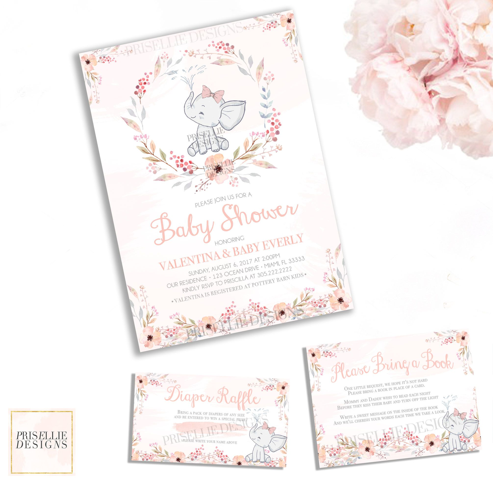 Elephant Baby Shower Invitation, Floral Elephant Watercolor Girl ...
