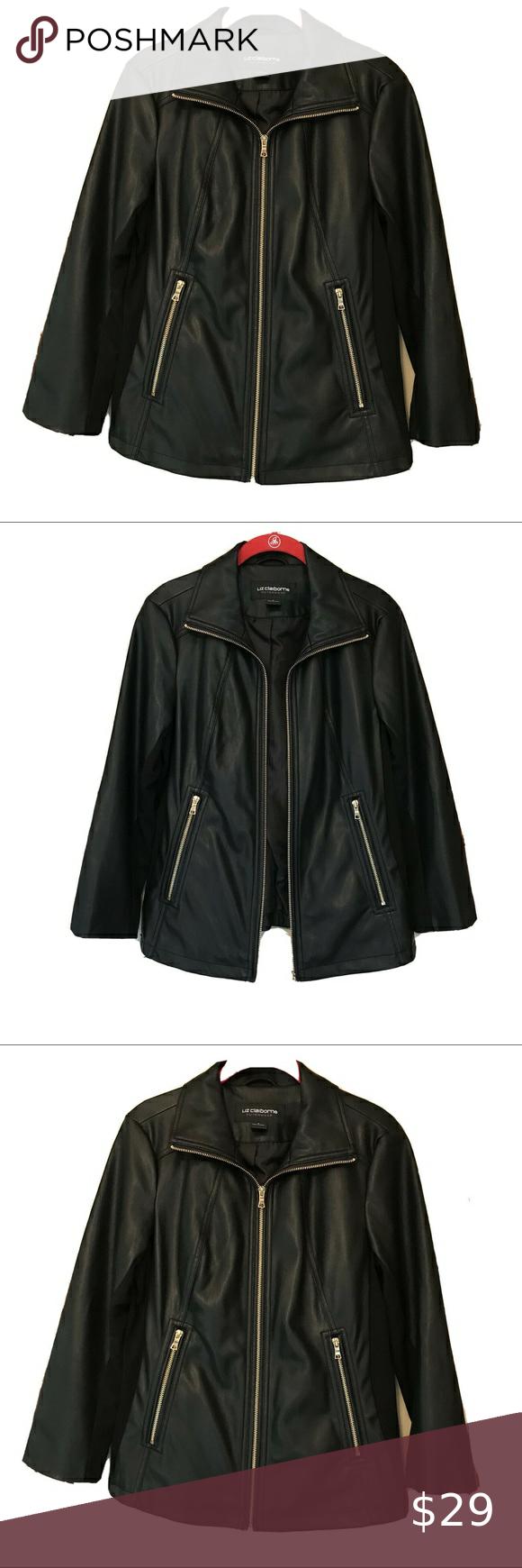 Liz Claiborne Womens Black Faux Leather Jacket S Black Faux Leather Jacket Black Faux Leather Jacket Women Leather Jacket