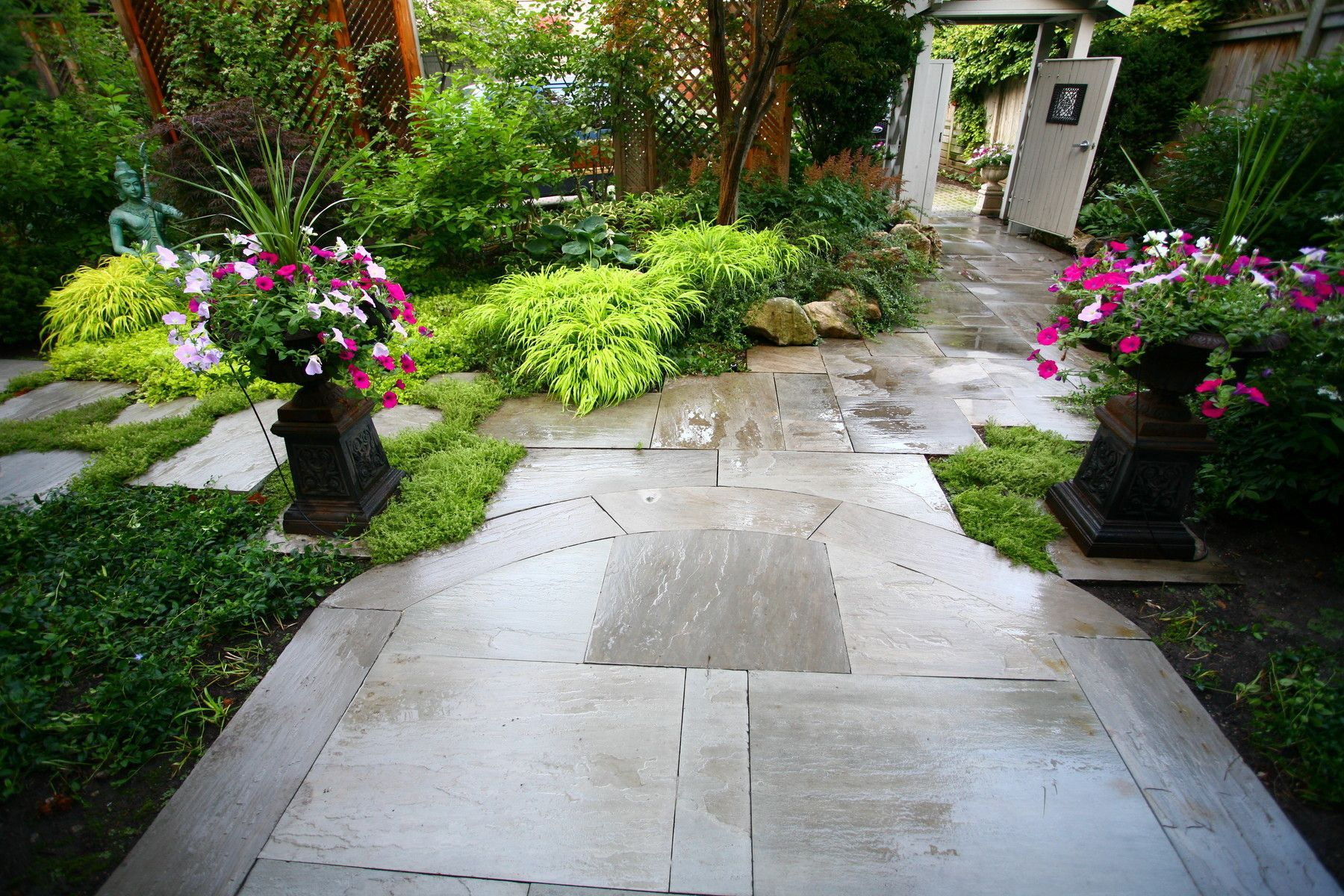 Uneven Front Garden Ideas  Patio stones, Small front yard