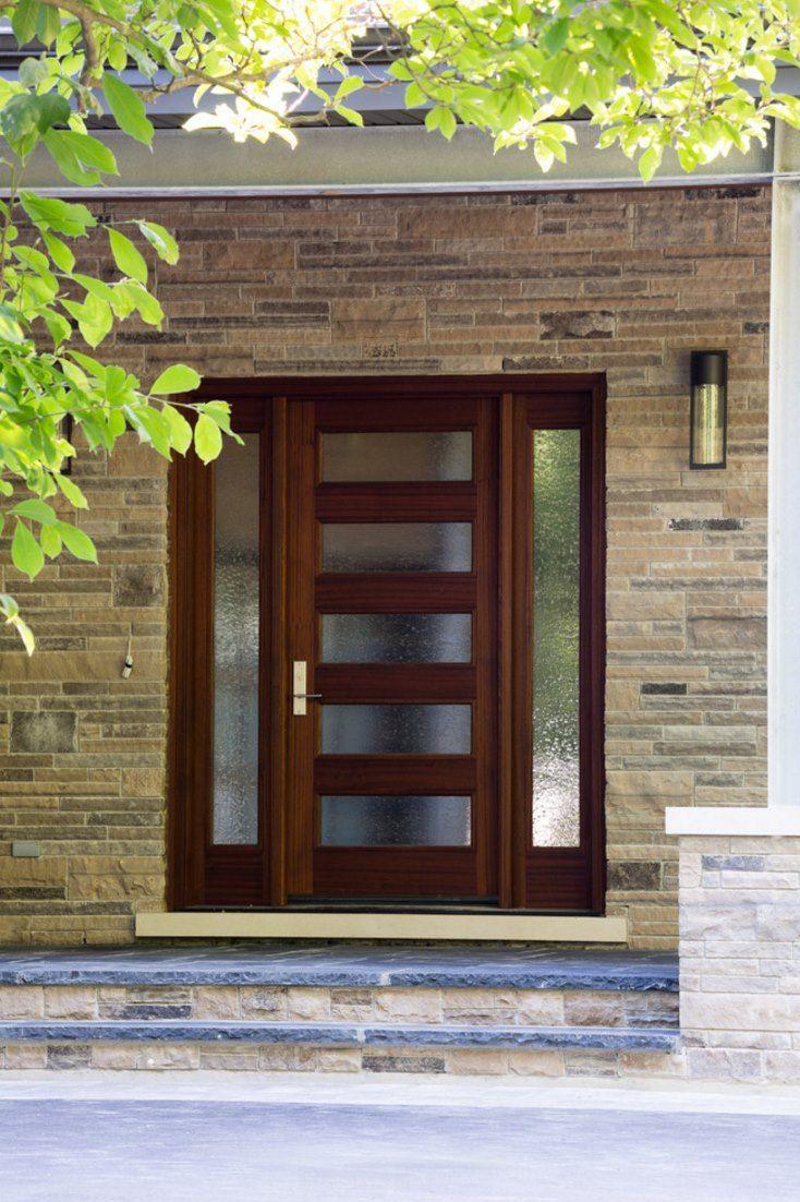 Modern Wood Stained 4 Window Front Door