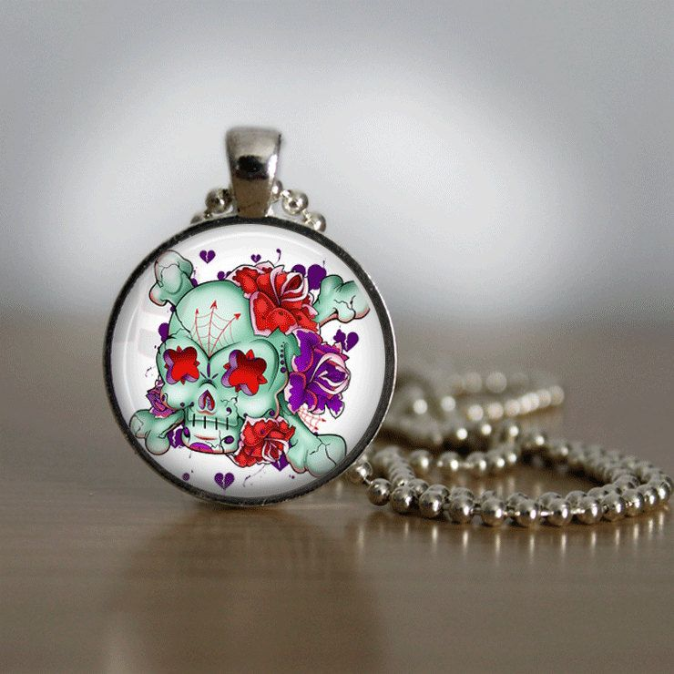 Sugar Skull Necklace Glass Tile Necklace  Day by bluerosebeadery