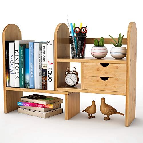 Tribesigns Bamboo Desktop Bookshelf Counter Top Bookcase Adjustable Storagevat Com Desktop Bookshelf Desktop Shelf Desk Storage