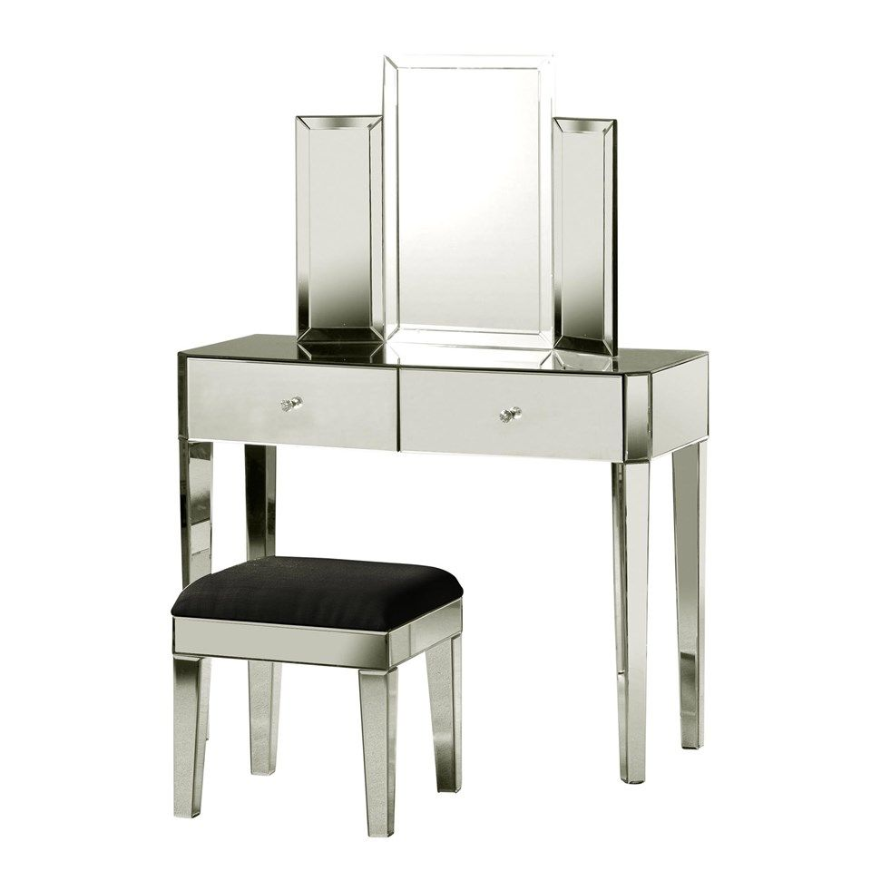 Tri fold vanity mirror with two drawer vanity table and for Vanity table with drawers no mirror