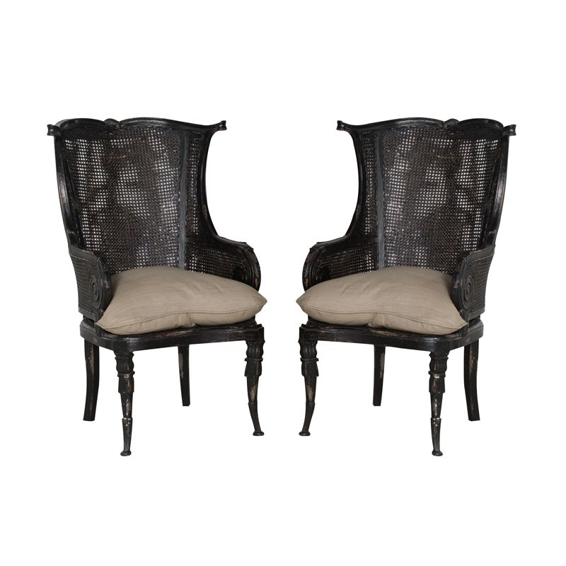 Elk home caned wing back accent chair vintage noir finish