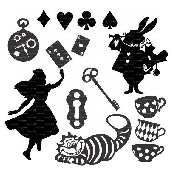 Alice in Wonderland vettori Overlay svg dxf ai di EasyCutPrintPD ...