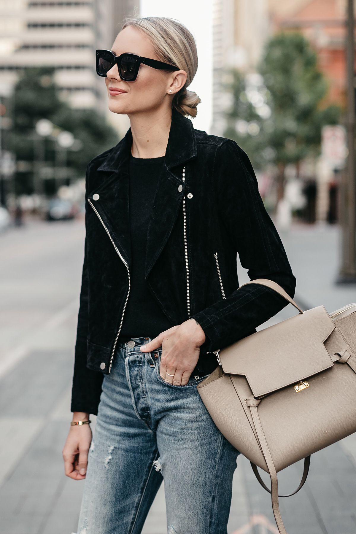 1ac86e7bcd0a Blonde Woman Wearing Black Suede Moto Jacket Black Sweater Denim Ripped  Jeans Celine Mini Belt Bag Fall-Fashion Must Haves Fashion Jackson Dallas  Blogger ...