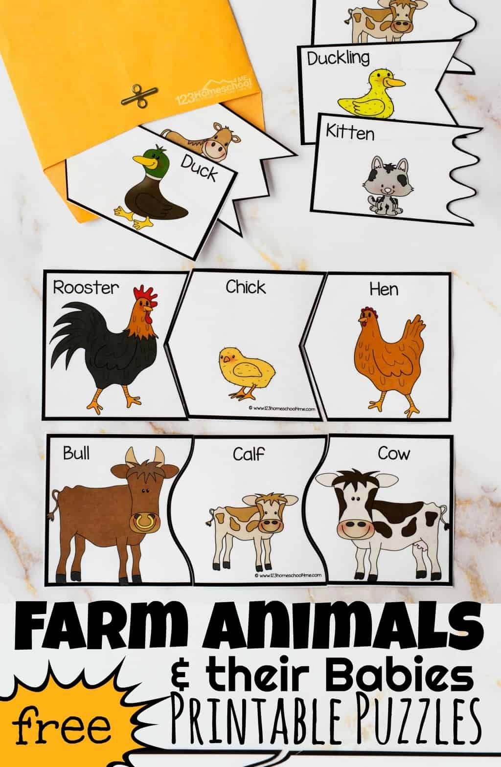 Farm Animals And Their Babies Printables Puzzles In