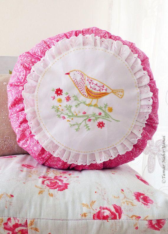 Bird on branch Bird applique Hand embroidery by TamarNahirYanai