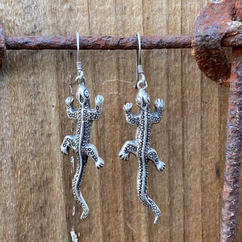 Sterling Silver Desert Lizard Earrings