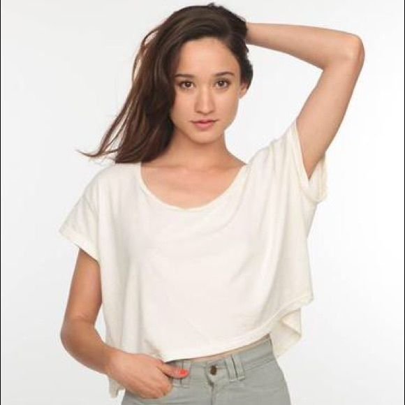 d2de0150756 American Apparel Loose Crop Tee Super oversized fit crop t-shirt perfect  for spring and summer! Cream colored. Perfect condition worn a handful of  times.
