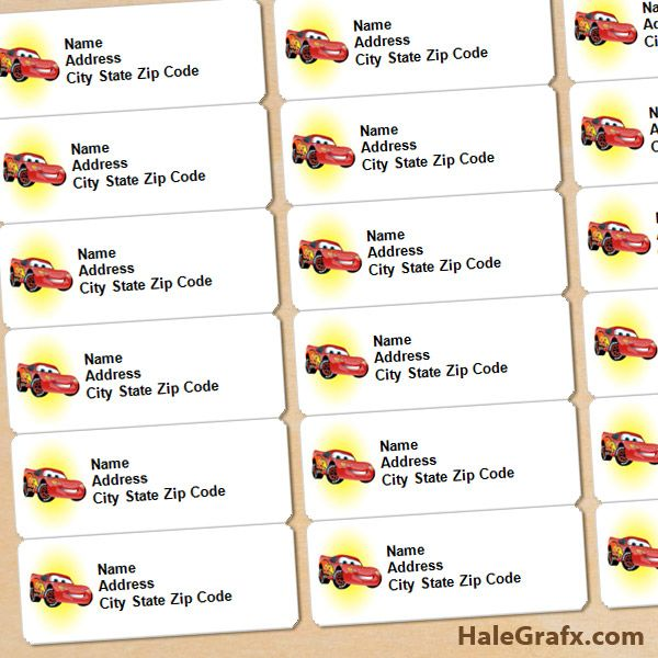 FREE Printable Disney Cars Lightning McQueen Address Labels Arts - address label format