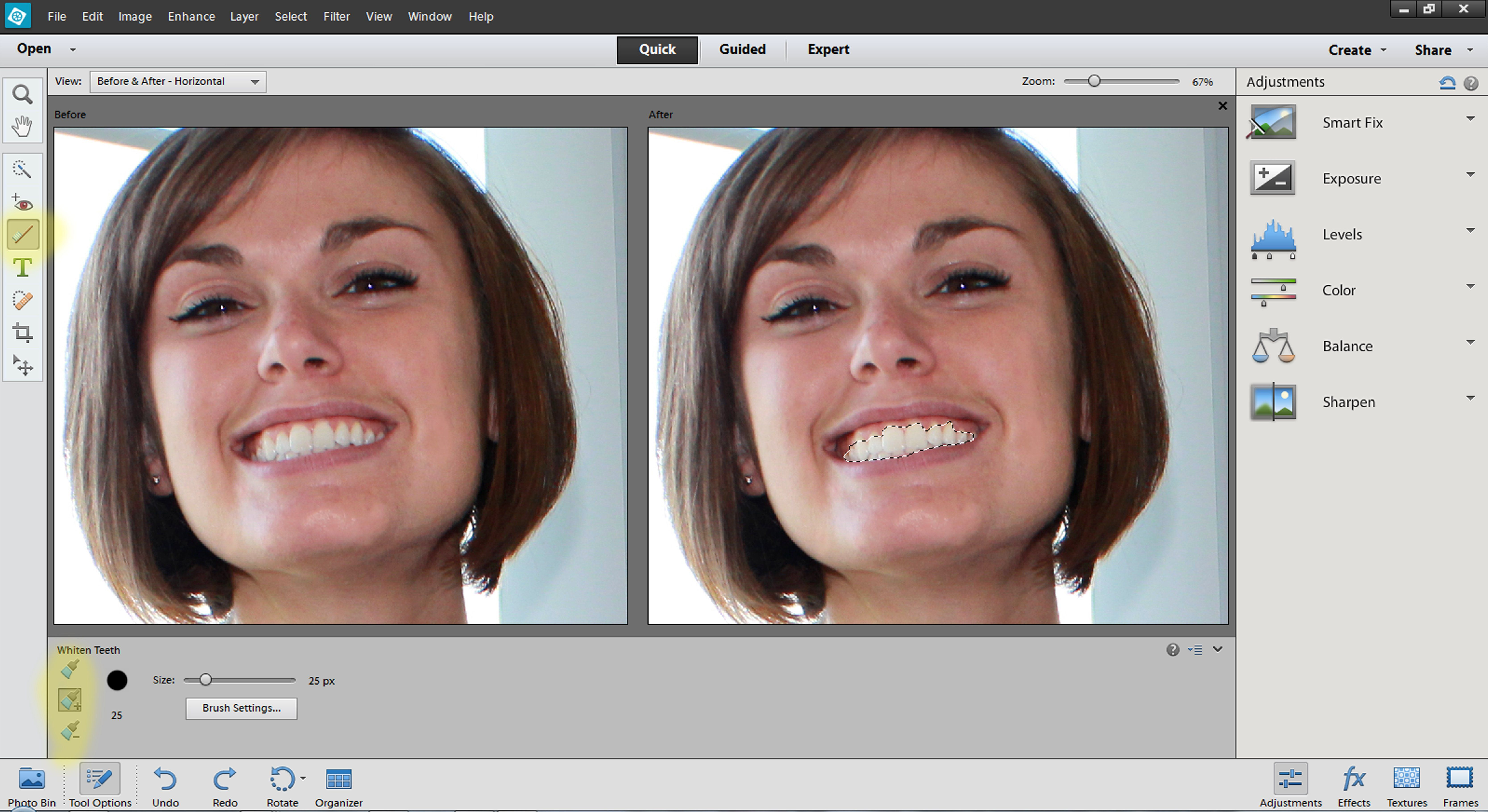 Adobe Photoshop Elements Tools And Shortcuts Of The Quick Mode