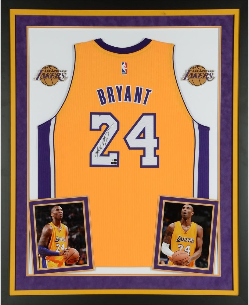 3e898441920 Kobe Bryant LA Lakers Framed Signed Yellow Jersey - Panini Authentic -  Fanatics